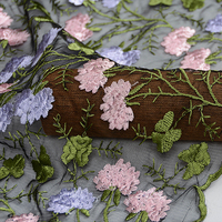 50x120cm/piece Hydrangea 3D Colours Embroidery High Quality Manual Handmade Lace Fabric Cloth For Dress Skirt DIY Sewing