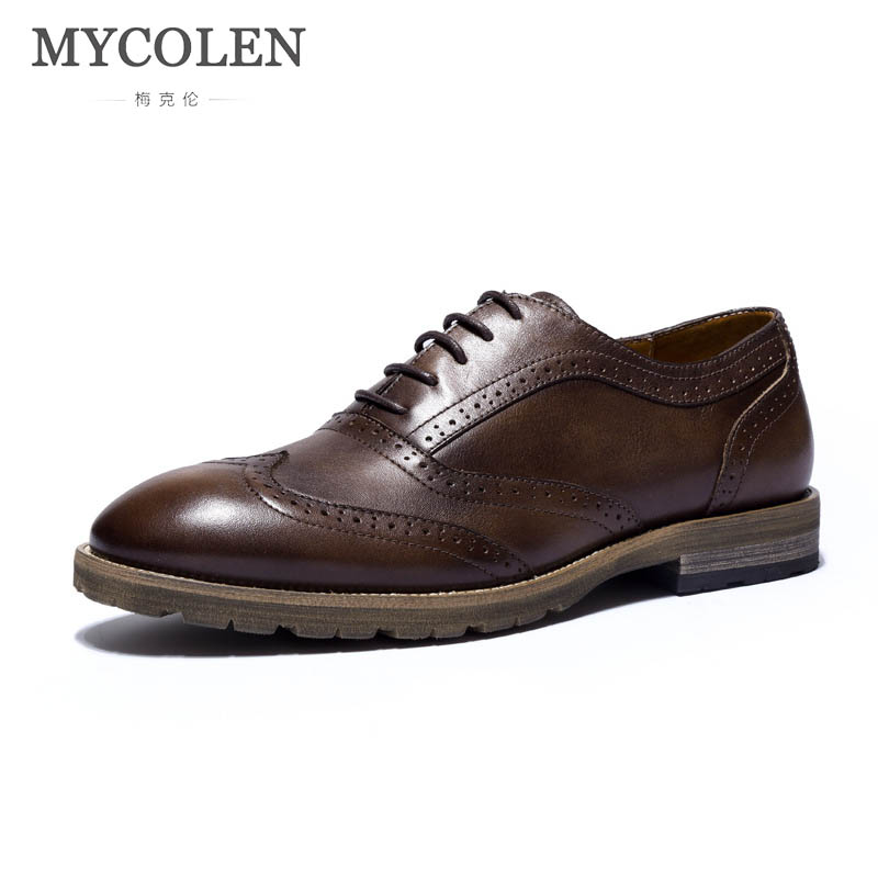 MYCOLEN Luxury Brand genuine leather men oxford shoes lace up business office black brown dress brogue shoes male footwear men luxury brand python leather dress shoes male high grade full leather oxford shoes lace up brown dress men free ship dhl page 1