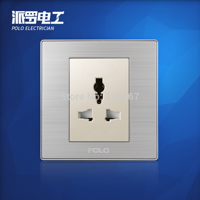 Wholesale POLO Luxury 3 Hole Wall Socket Panel, 3-Pin Multifunction Socket,Electric Wall Outlet Champagne/Black,10A, 110~250V atlantic brand double tel socket luxury wall telephone outlet acrylic crystal mirror panel electrical jack