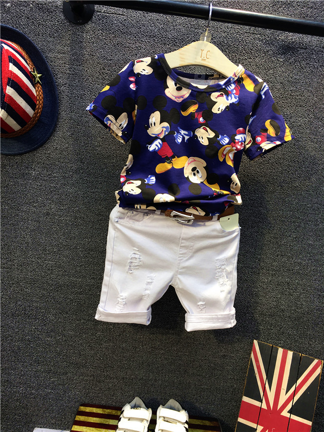 2016 summer Europe fashionable girls  Cute girls short bow wave shorts + cotton suit Birthday gift for girls