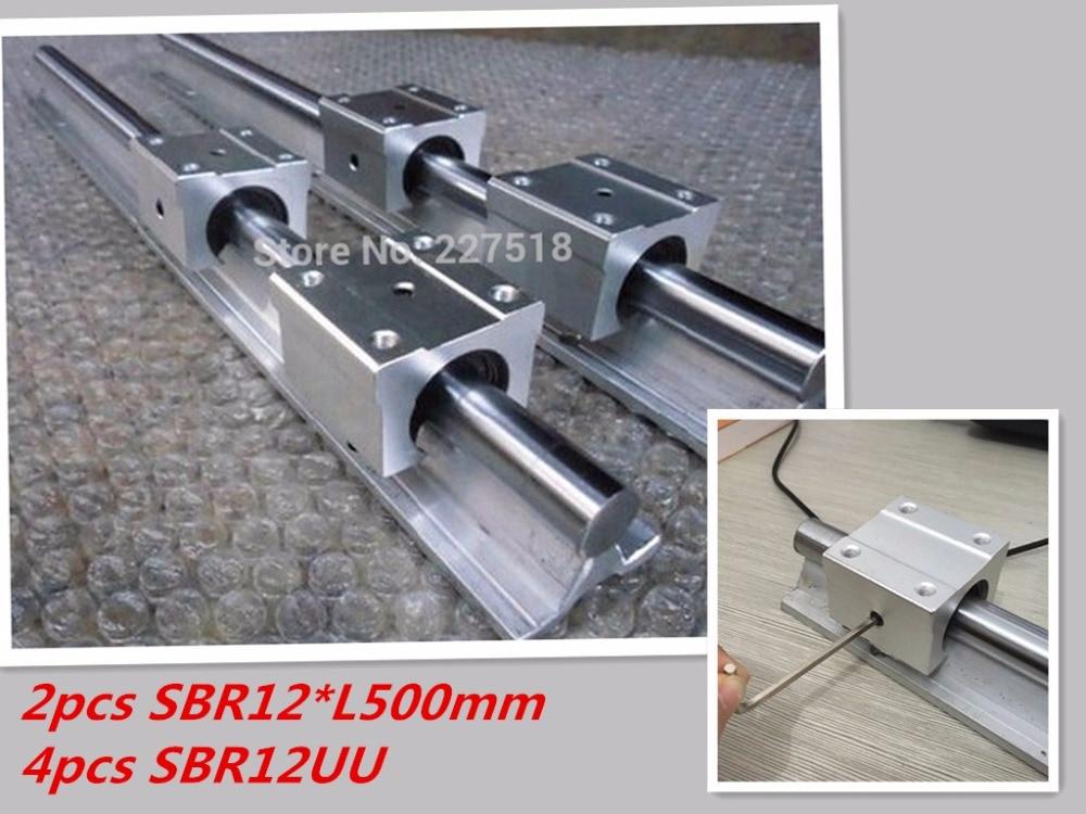 12mm linear rail SBR12 500mm 2 pcs and 4 pcs SBR12UU linear bearing blocks for cnc parts 12mm linear guide free shipping 2 pcs linear guide sbr12 l linear rail shaft support and 4 pcs sbr12uu linear bearing blocks for cnc parts