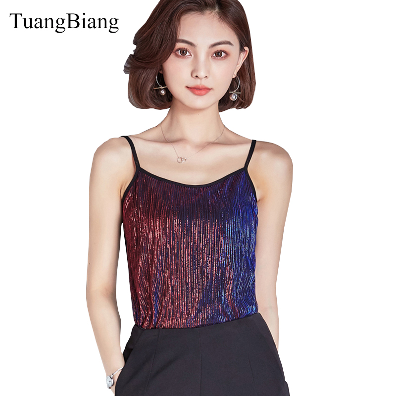 2d2f848036f69e TuangBiang 2018 Women Sexy Summer Crop top Club Camis Bright silk Pink  sleeveless Tanks Top Feminino