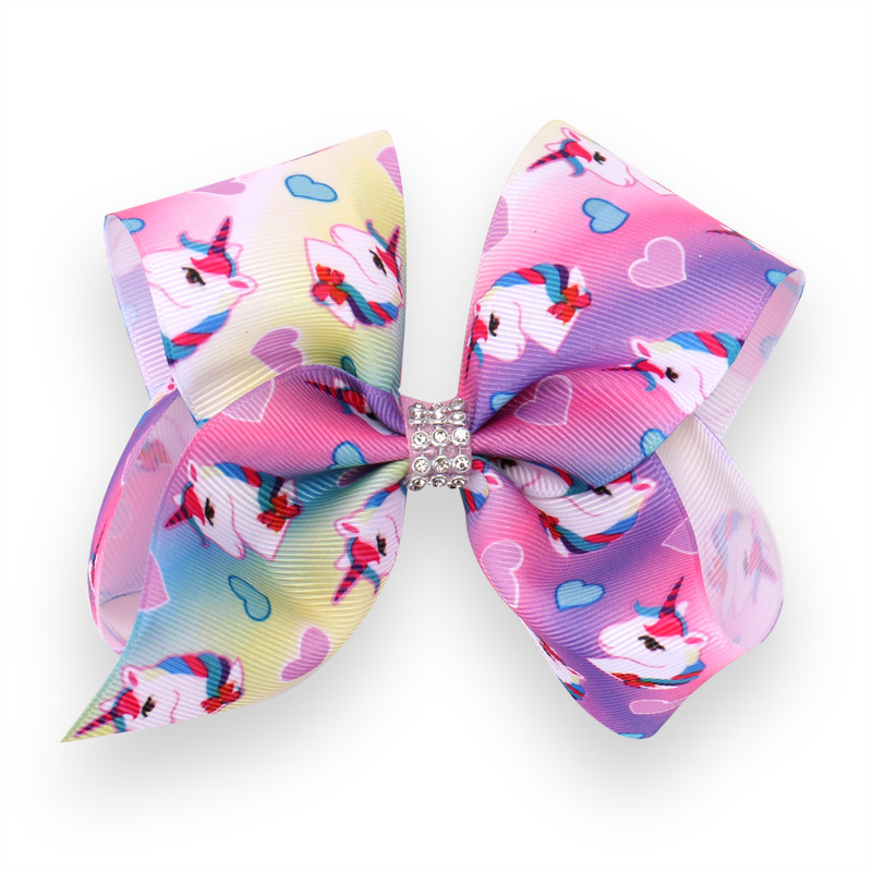 5 quot Unicorn Rainbow party Bows Hair Clip For Girls Kids Handmade Boutique Knot Jumbo Hair Bow Hairgrips Hair Accessories in Hair Accessories from Mother amp Kids