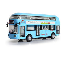 Alloy London Bus Double Decker Bus City Sightseeing Bus Flashing & Musical Open Door Design Pull Back Car Model Toys For Kids(China)