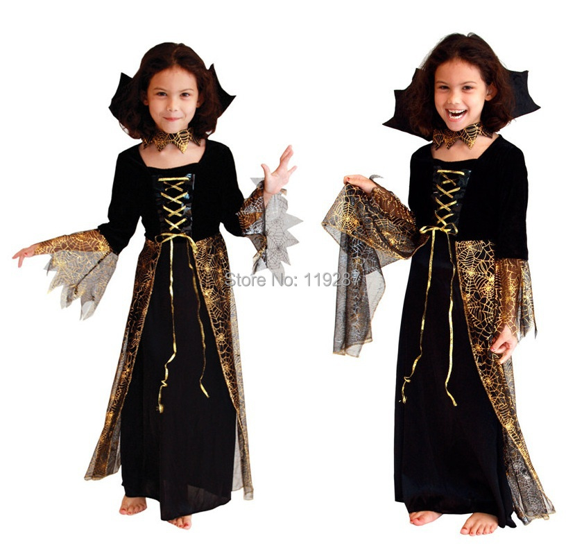 Free Shipping New Beautiful Spider Girl Children Cosplay Costume Hallowean Party witch Costumes for Kids Cute Dresses