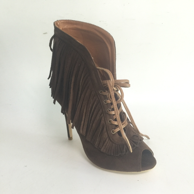 Brown Tassel Short Boots For Women Peep Toe Lace-up Front Ankle High Heels Fashion Desginer Graceful Ladies Women Shoes 2017 summer fashion shoes suede tassel stiletto high heels shoes peep toe lady ankle boots fringed lace up platform sandal boots