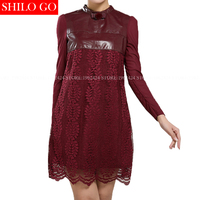 Plus size 2017 autumn winter fashion new women high quality sheepskin high stand collar bow embroidery lace wine red dress 3XL