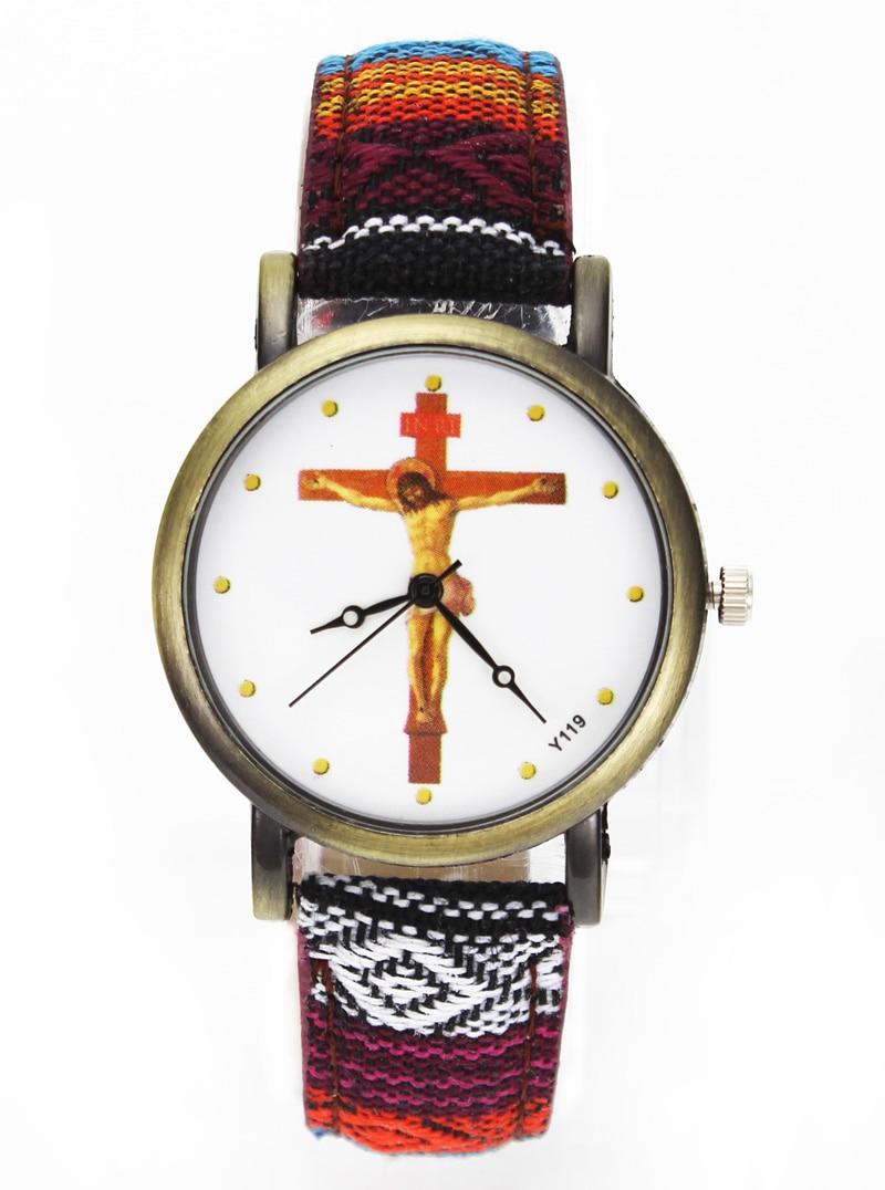 Dumnezeu Isus Hristos Crucificare Cruce Ceasuri Ziua Paștelui Creștin Religios Canvas Panza Bandă Unisex Sport Casual Relojes Watch