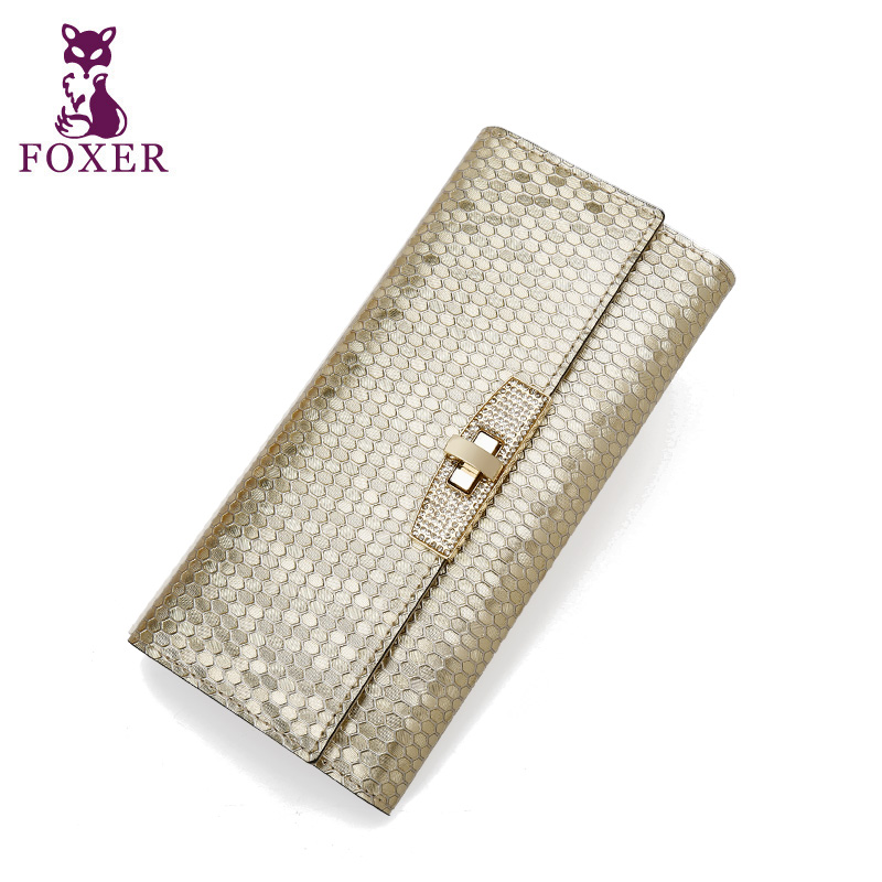 ФОТО FOXER 2015 women long wallet genuine leather purse female luxury clutch brand wallets fashion Purse New Arrival high quality