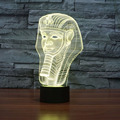 Egypt Pharaoh Night Children Room Bedroom 3D Visualization Illusion RGB USB 7-color Changing Desk Table Moon Decor Light Lamp