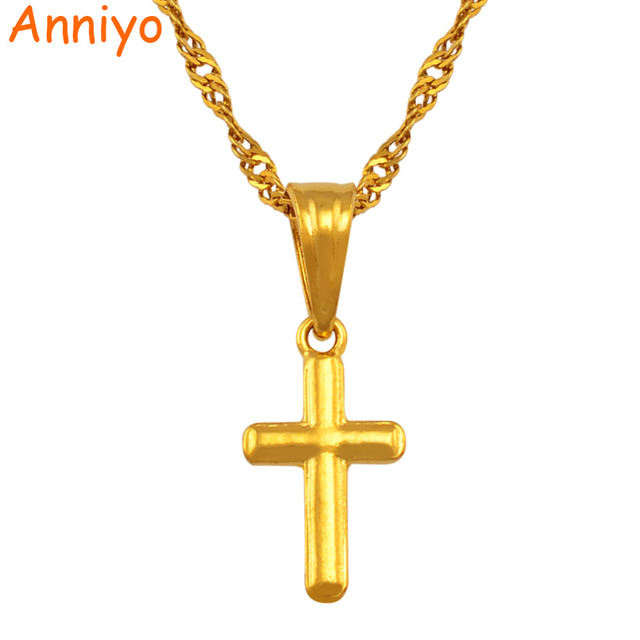 Anniyo Small cross pendant necklace women girl,mini charm pendant gold color jew