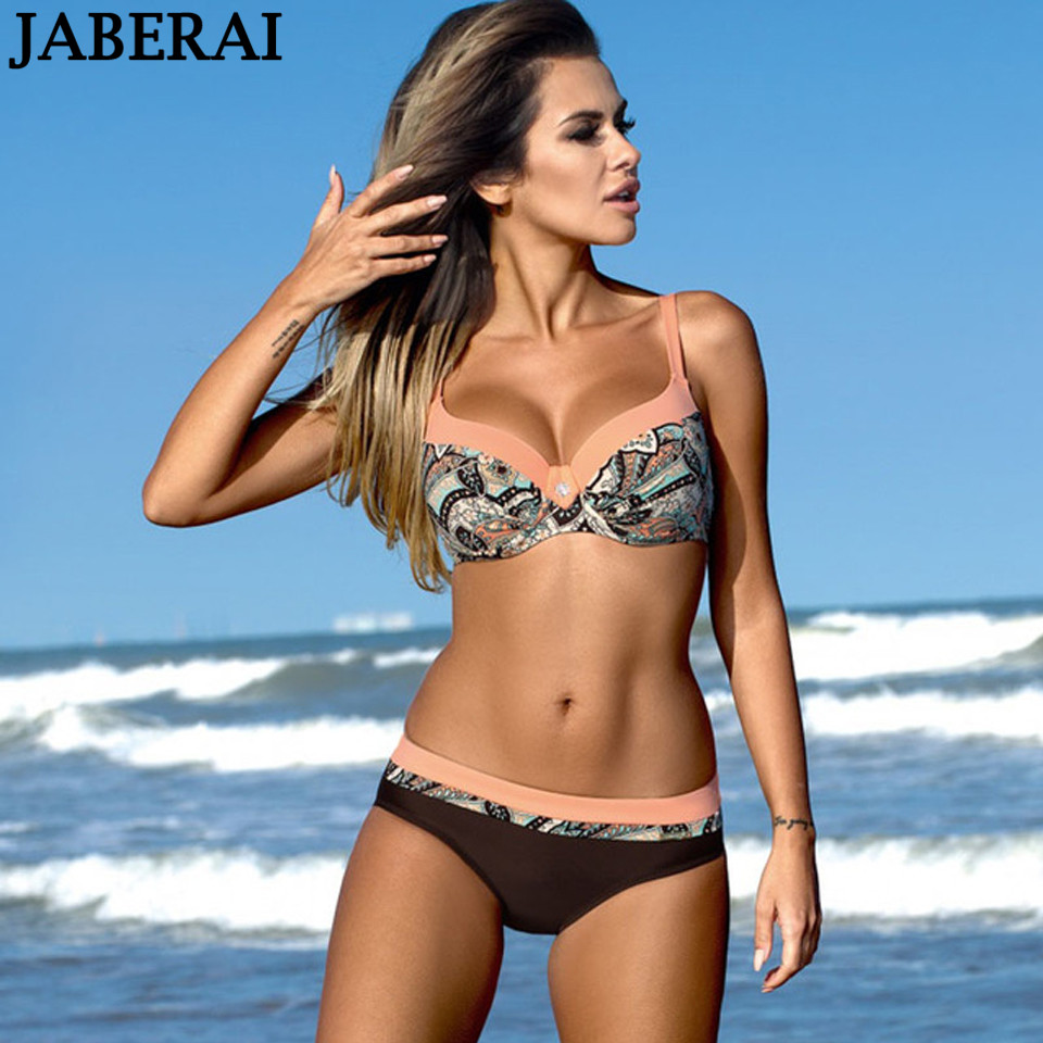 JABERAI Sexy Push Up Bikini Set 2018 Women Print Swimwear Plus Size Swimsuit Female Patchwork Bathing Suit Biquini Beach Wear стоимость
