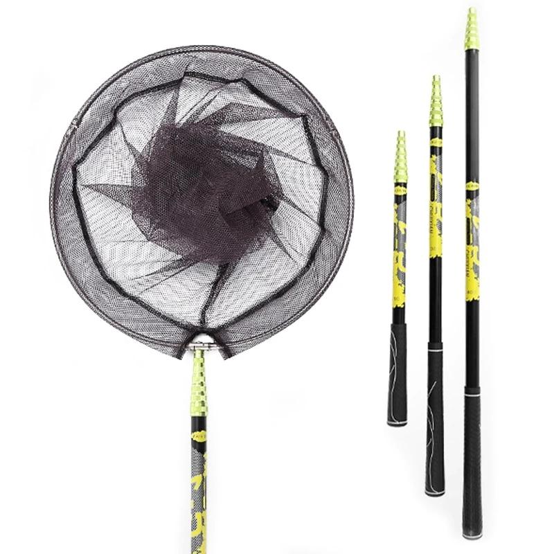 Nylon Fishing Net Collapsible Fish Net Tools Rhombus Mesh Hole Depth Folding Carbon steel fish rod Landing Dip Net carp net