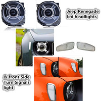 Jeeep Renegade led headlights DRL Angel eye lamp + Car Front Side Turn Signals light Bi Xenon HID Xenon KIT For Jeeep Renegade