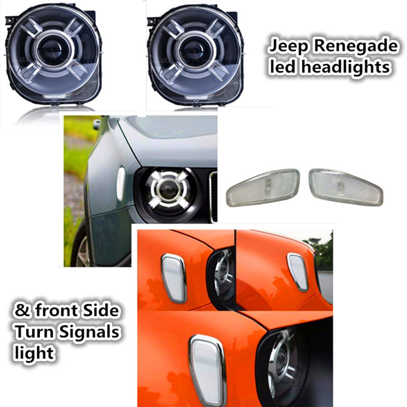 Jeeep Renegade led headlights DRL Angel eye lamp + Car Front Side Turn Signals light Bi-Xenon HID Xenon KIT For Jeeep Renegade 1pair led side maker lights for jeeep wrangler amber front fender flares parking turn lamp bulb indicator lens