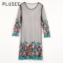 Купить с кэшбэком Plusee Dress Plus Size Women Summer Tulle Straight Round Neck Above Knee Mesh See-Through Embroidery Tie-Dye Pullover Dress