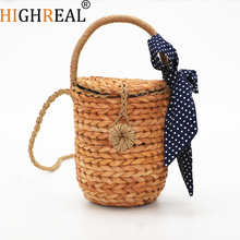 Brand Summer Bucket Bags Hand Woven Straw Bag Casual Small Lady Handbag Cute Bow Women Messenger Bags