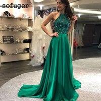 Green 2019 Robe de soriee New 2 Pieces Prom Dresses High Neck Sleeveless Floor Length Beaded Taffeta Evening Dress Party Gowns