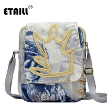 ETAILL Fashion Embroidered Small Shoulder&Crossbody Bag Women Messenger Bags New Floral Printing Flap Shoulder for