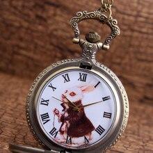 Bronze Alice in Wonderland Rabbit Vintage Pocket Watch Neckl