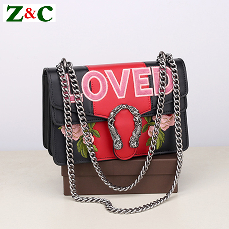 Fashion Flowers Embroidery Chain Women Casual Shoulder Bag Messenger Bag Retro Female Big Bag\Handbag Ladies Flap Motorcycle Bag flower embroidery flap chain bag