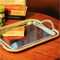 42x28cm rectangle metal silver plated serving tray for cake pastry desserts cups dish silver tray for home decoration FT028