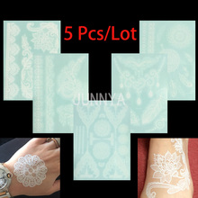5 Pcs 21x15cm White Tattoo Lace Flower Waterproof Temporary Tattoos Henna Fake Tattoo Sticker Flash Henna Tattoos