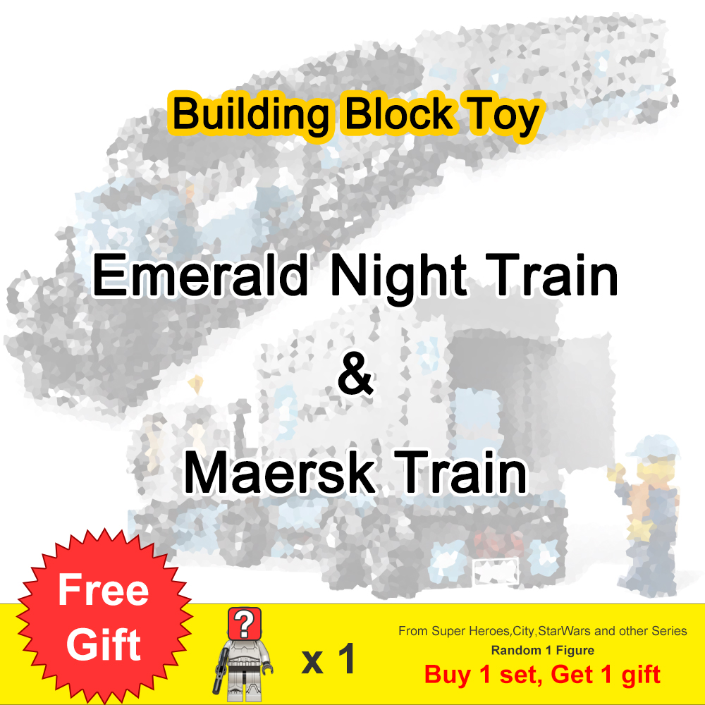 Expert Ultimate Maersk Train Emerald Night Set With Figures Building Blocks Toys For Children Gift Fit