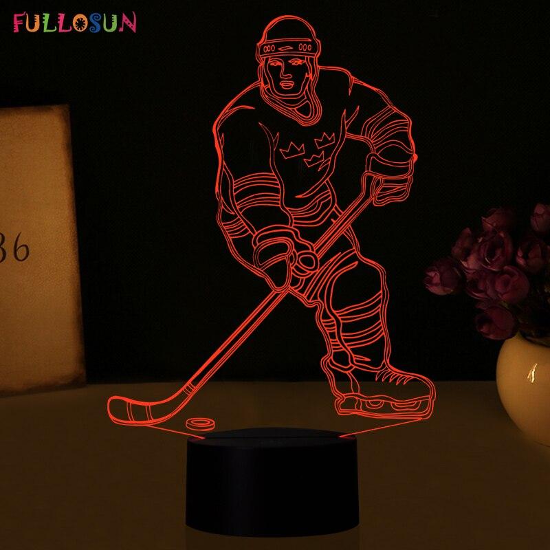 Luzes da Noite hóquei no gelo atleta 3d Fonte de Luz : Lâmpadas Led