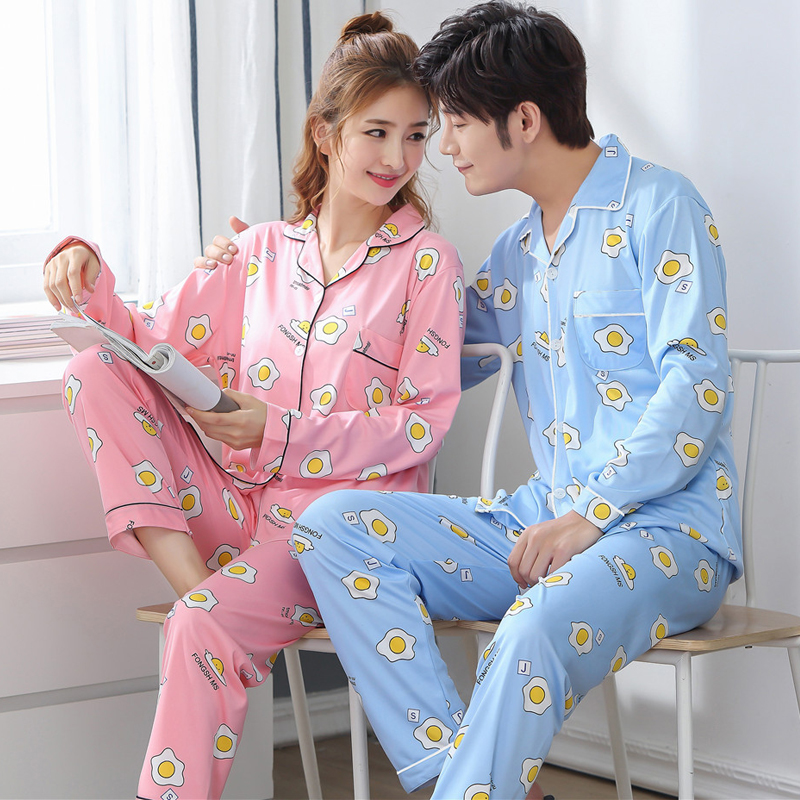 Young Lovers Pajamas Sets Women Men Nightwear Casual Homewear Autumn Pyjama Loose Print Couple Pijama Set Sleepwear Top+ Pants