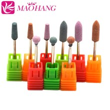 MAOHANG 9PCS/LOT Ceramic stone Nail Drill Bit Nail File 3/32Cutter for Electric Drill Manicure Machine Accessory Nail Art Tool 10pcs round grinding stone head nail drill bit 3 32 for electric manicure cutter machine dead skin nail file remove polish