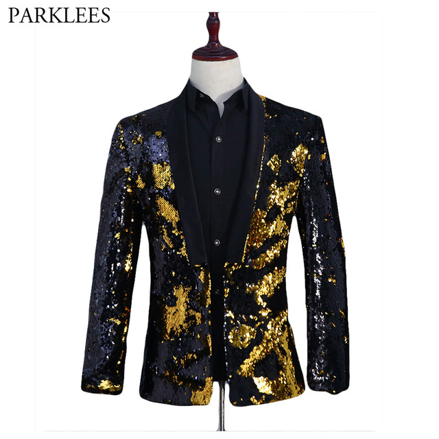 Black Flipping Sequins Dress Blazer Men Nightclub DJ Stage Glittering Suit  Jacket Male Wedding Groom Prom Host Punk Blazer Homme 9402da352451