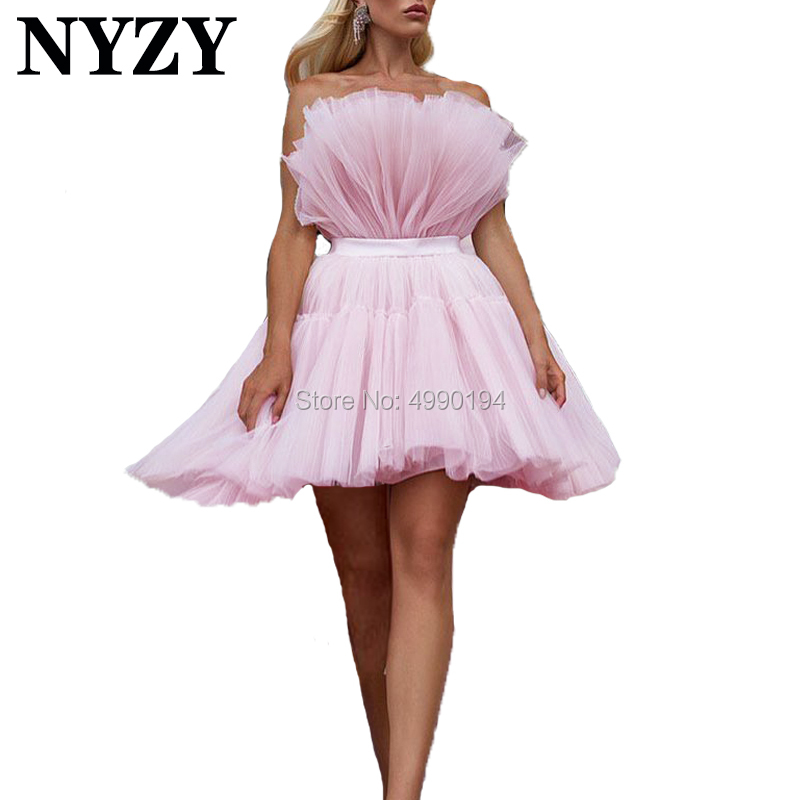 Cocktail Dresses 2019 NYZY C188 Pink Pleats Tulle Puffy Short Prom Dress Evening Gown Formal Dress Party Homecoming Graduation