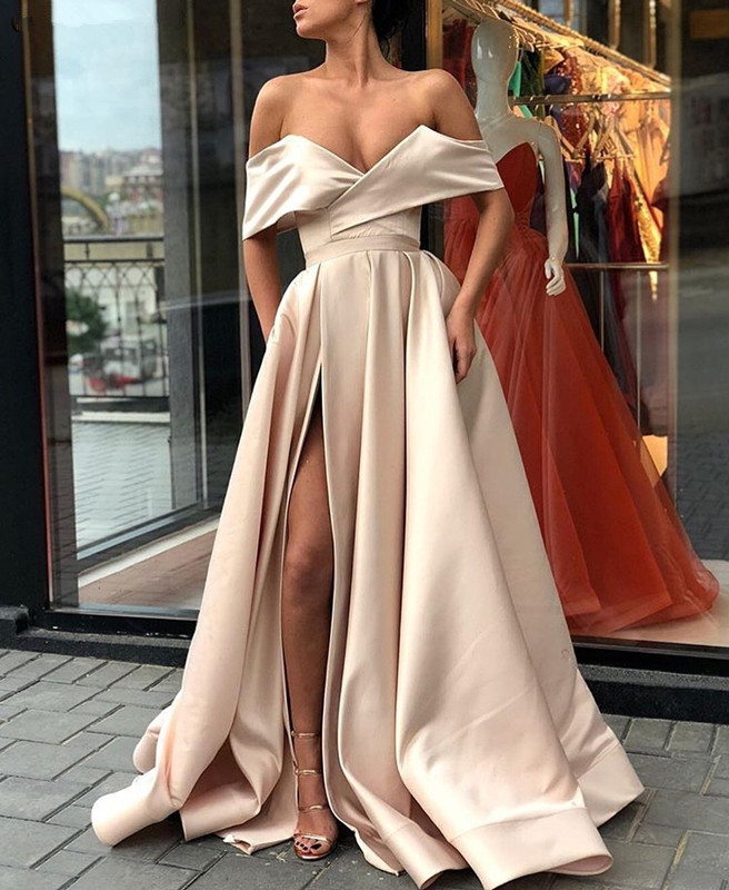 Muslim   Evening     Dresses   2019 A-line V-neck Off The Shoulder Slit Sexy Islamic Dubai Saudi Arabic Long Elegant   Evening   Gown