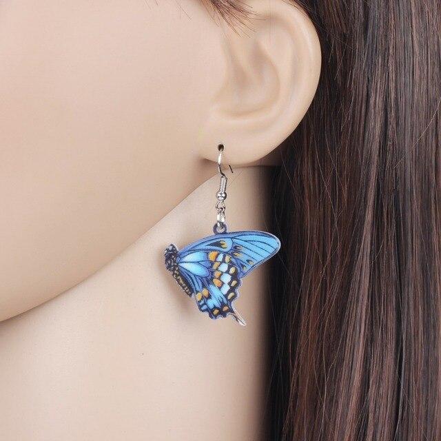 Bonsny Acrylic Floral Blue Danaidae Butterfly Earrings Big Dangle Drop Symmetric Insect Jewelry For Women Girls Ladies Gift Bulk