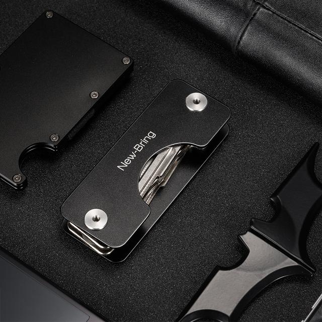 NewBring Aluminum Metallic EDC Key Wallets Men car Key Holder Smart Housekeeper New Design EDC Keys Organizer Keychain Bag Purse