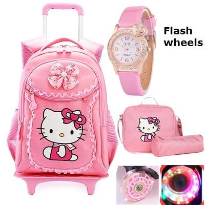 Hello Kitty Children School Bags Kids Backpacks Wheel Trolley Luggage For Girls Backpack Mochila Infantil Bolsas