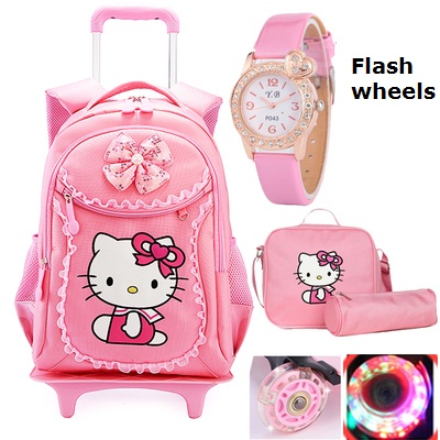 Hello Kitty Children School Bags Mochilas Kids Backpacks With Wheel Trolley Luggage For Girls backpack Mochila Infantil Bolsas