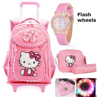 Hello Kitty Children School Bags Kids Backpacks Wheel Trolley Luggage For Girls Backpack Mochila Infantil Bolsas Zaini Scuola