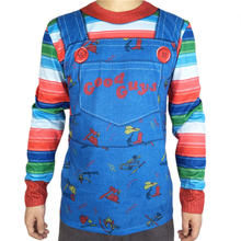 Scary Chucky Halloween Costume for Adult Men Horror Men's Chucky Overalls Print Long Sleeve Rainbow Striped T Shirt Plus Size все цены
