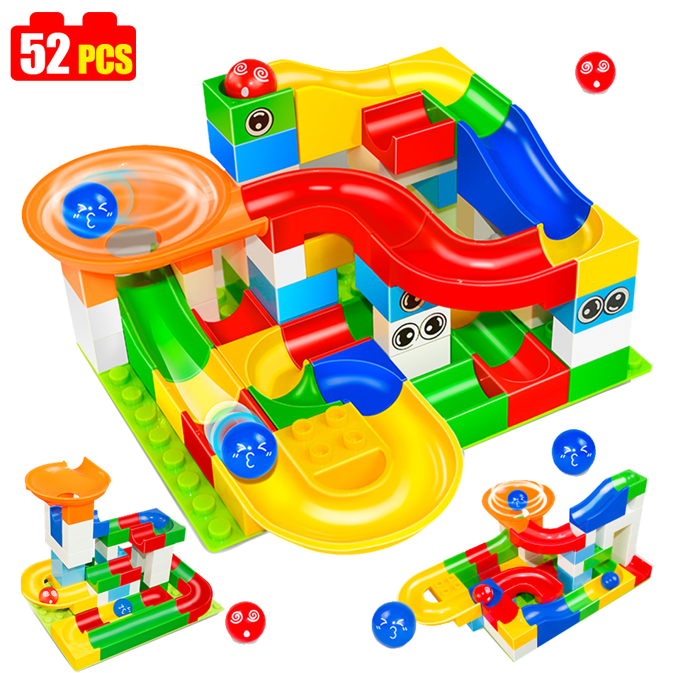 52pcs Funny DIY Race Run Track Colorful Construction Balls Rolling Track Building Blocks Compatible Legoed Duploe children Toy