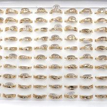Простые женские кольца на палец золотого цвета 50 шт/лот циркониевый