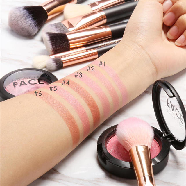 FOCALLURE Makeup Blusher Top Quality Professional Cheek Colors Baked Blush Bronzer Blusher Face Contour Blusher