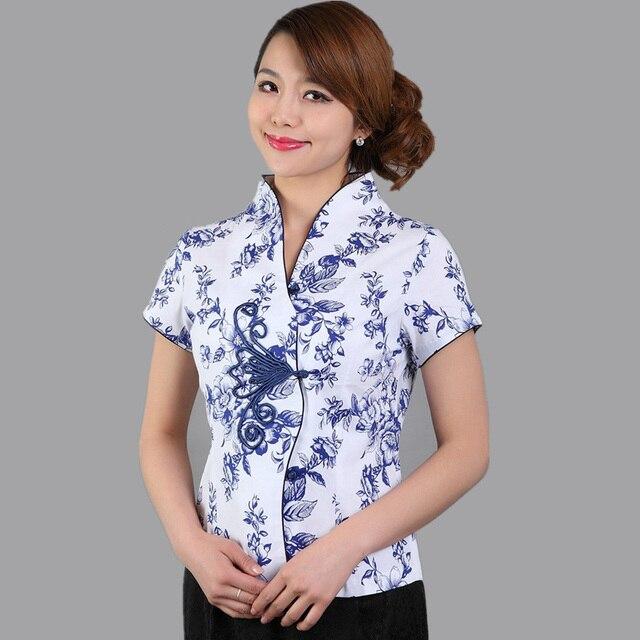 da53ca513075b9 Chinese Style Blue And White Women Blouse Vintage Button Cotton Shirt Top  Summer Short Sleeve Flower Tops S M L XL XXL XXXL M-70
