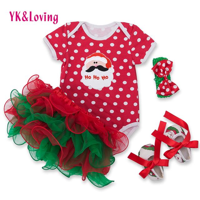 Festival de Saia Falda Del Bebé Recién Nacido Ropa 2016 Roupas Infantil faldas Set Baby Santa Claus Niñas Conjunto ropa de Lunares F5001