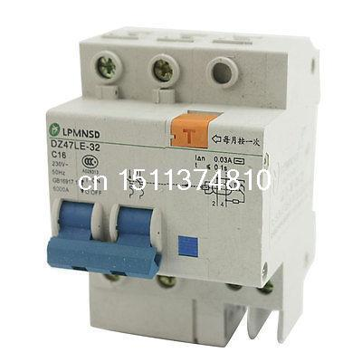 35mm DIN Rail Mounting On/Off Switch 2-Pole Mini Circuit Breaker AC 230V 16A