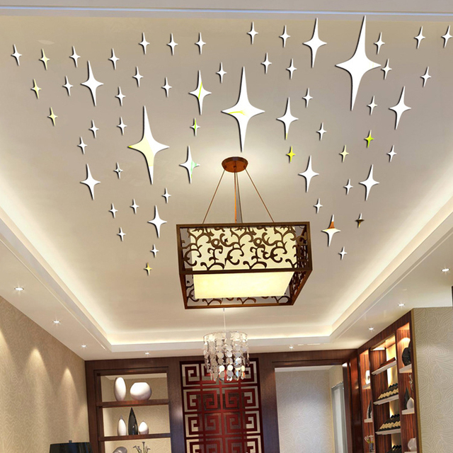 50 Pieces / Pack Star Shape 3D Acrylic Wall Stickers Living Room Bed Room  Ceiling Mirror