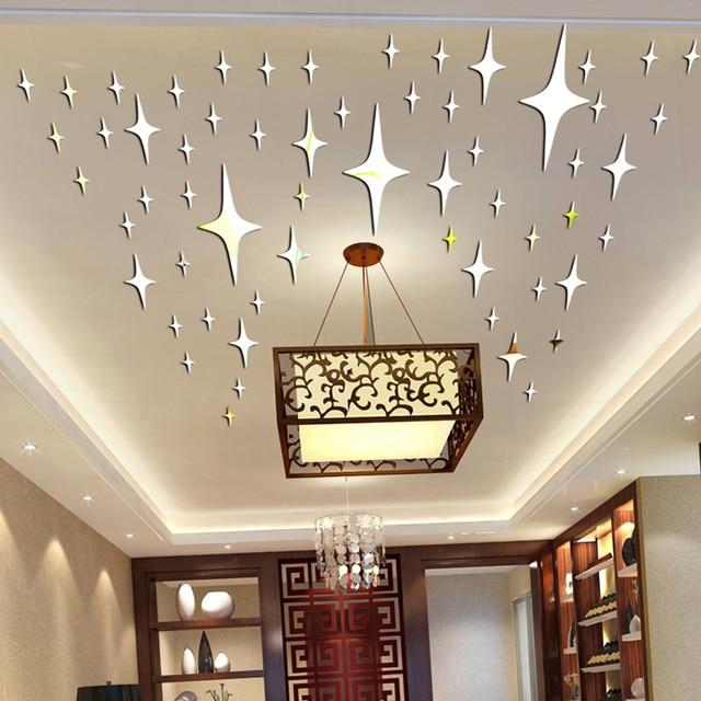 Stickers muraux 3D en forme détoile   Étiquette décorative murale en acrylique, pour salon, chambre à coucher, plafond, miroir, décoration de maison P17, 50 pièces/paquet