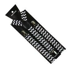 Winfox 2.5cm Wide Black White Striped Plaid Print Suspender Men`s Women Elastic Slim Braces Y-Back Suspenders