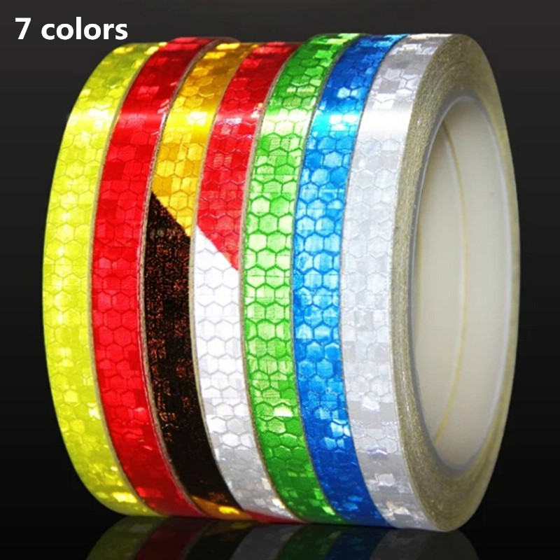 Reflective Tape Fluorescent MTB Bike Bicycle Cycling MTB Reflective Stickers Adhesive Tape Bike Stickers Bicycle Accessories 8m 1cm colorful reflective stickers strip motorcycle bicycle fluorescent reflector safety rim decal tape for motorbike bike